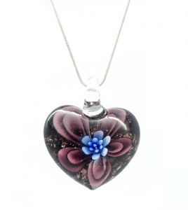Distinctive Decorative Brown & Blue Flower Venetian Murano  Glass Love  Heart Shaped Pendant / Necklace